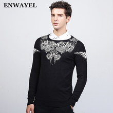 ENWAYEL High Quality Autumn Winter Warm Luxury Pullover Sweater Men Fashion Casual Embroidery Male O Neck Knitted Slim Fit MS915(China)