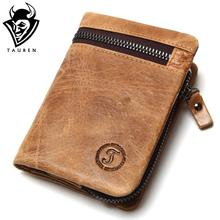 Genuine Cow Leather Mens Wallets Brand Logo Zipper Design Bifold Short Men Purse Male Clutch With Card Holder Coins Purses Walet(China)