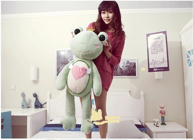 big new creative plush frog toy lovely green frog prince doll about 90cm(China)