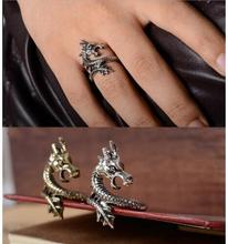 r372 2016 new arrival Punk fashion charms exaggerated dragon rings for men and women Retro Vintage jewelry ring