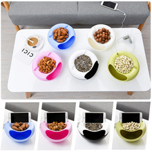 1Pcs Circular Plastic Double Deck With Phone Place Snacks Food Storage Box Dual Purpose Tabletop Grocerie Storage Box Organizer(China)