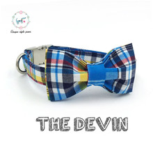 blue stripe  collar with bowtie or  set with leash   dog &cat necklace and dog leash  for pet gift wedding collar