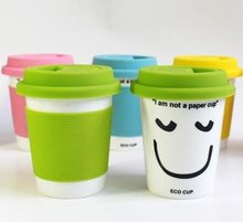 High Quality Ceramic Mug Cup,Office Water Cup,Double-Wall PP Covering Mug (I am not a paper cup) Free shipping(China)