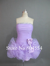Custom Made Vestidos De Noche Lavender  Organza Beading Ruffles Mini Cocktail Dress Short Prom Dress