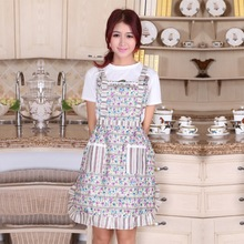 Flower Printed Pocket Cotton Kitchen Apron Women Restaurant Home Cooking Apron