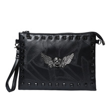 Fashion locomotive punk bag retro tide rivet hand skull bag brands shoulder bags michael tote Clutch evening Men's Messenger Bag