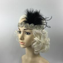 Great Gatsby 1920 Flapper Headpiece Crystal Bridal Black Feather Headband(China)