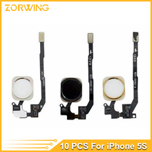 10pcs/lot Home Button Flex Cable Ribbon Assembly For iPhone 5S home button complete Repair part white black gold(China)