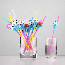 10pcs Creative Design Lovely Football Shaped Straws For Kids Birthday Wedding Decoration Party supplies Creative Drinking Straws