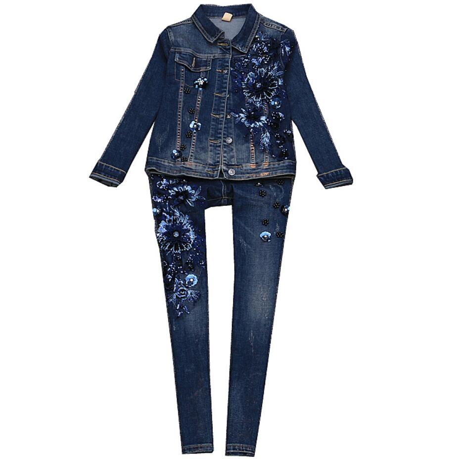 2018 autumn winter new fashion women sequin Embroidered flowers rivet denim jacket+skinny pencil jeans two pieces sets
