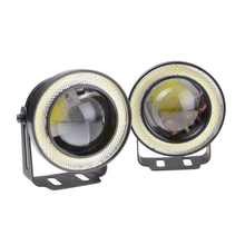 2x Waterproof Projector LED Fog Light With Lens Halo Angel Eyes Rings COB 30W White Blue 12V SUV ATV Off Road Fog Lamp(China)