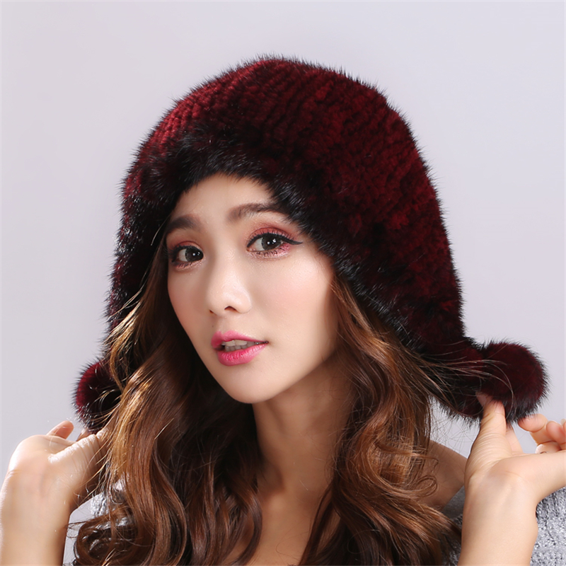 Hot Sale Mink Fur Beanies Warm and comfortable Solid color Rongqiu Thicken Female Cap Winter Knitted Real Mink Fur Hat#H9021Одежда и ак�е��уары<br><br><br>Aliexpress