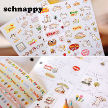 Cute Lovely 6 Sheet Paper Stickers for Diary Scrapbook Notebook Wall Decor DIY Cartoon Scrapbooking Stickers Children Play Toys(China)
