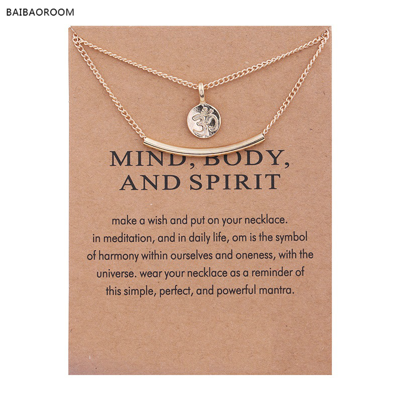 Golden Plated Meditation Symbol Yoga Double Layer Clavicle Bone Pendant Short Necklace