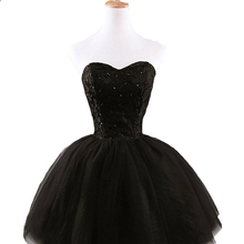 2015 New Fashion Black Bridesmaid Dresses Off Shoulder Prom Dresses Party Dress Knee-Length Plus Size Custom Made LF33