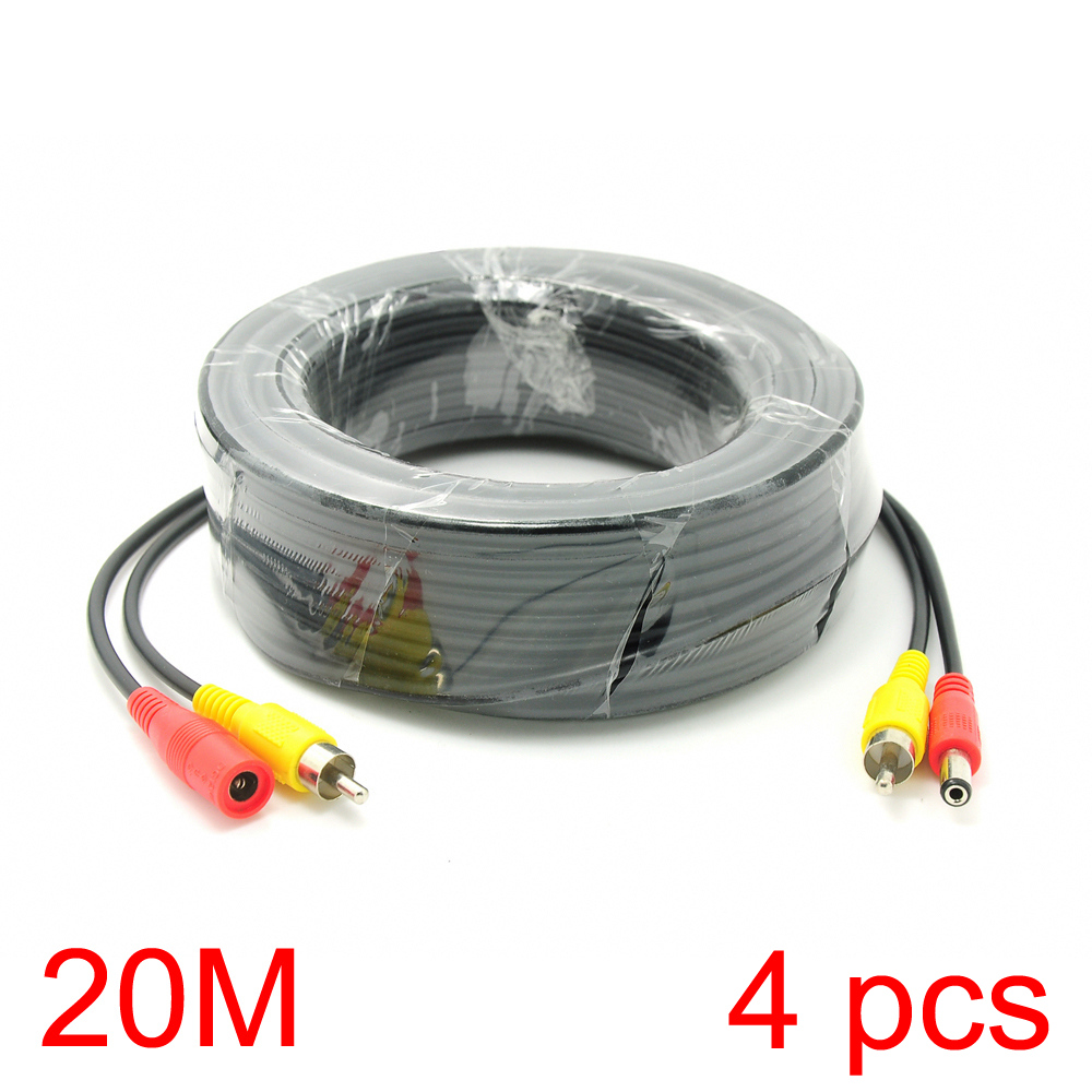 4x 20M/65FT RCA DC Connector Power Audio Video Cable For CCTV Camera Security<br><br>Aliexpress