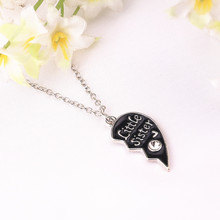 "Broken Heart Shape Design Pendant Necklaces Carving ""Big sister """"Little sister"" For family Wear jewelry (1lot=2pcs)"