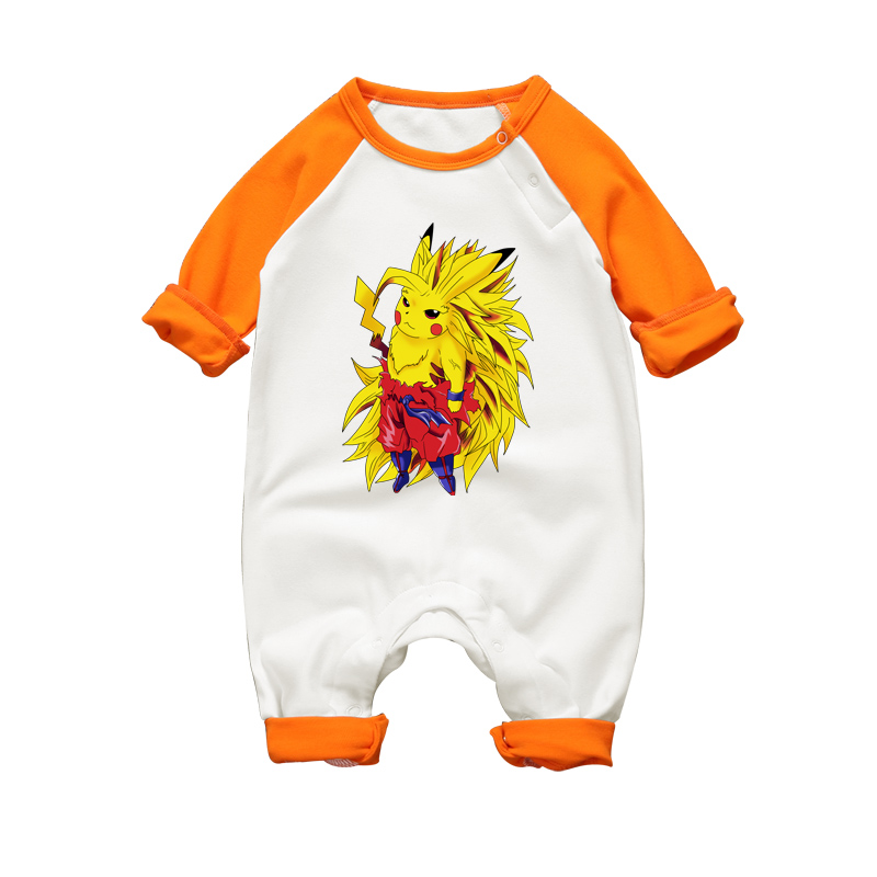 2017 Newborn Baby Girl Boy Cute Pikachu x Super Saiyan Print Romper Autumn Winter Unisex Infant Babies Clothes Jumpsuit