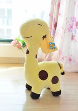cute cartoon spots giraffe toys lovely yellow giraffe plush doll birthday gift about 35cm