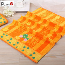 Hot 100% Cotton Orange Towels Flower Cute Frog Embroidered Bathroom Face Towel for Adult Kids Soft Rectangle Toalla 50x90cm(China)