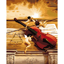 Fashion Home art Wall Painting Flower Pictures 40*50cm Painting By Numbers Angel guitar music Oil Painting On Canvas DY089