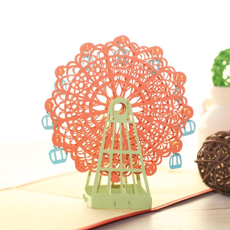 Kawaii Handmade 3d Ferris Wheel Origami 3d Pop Up Paper Laser Cut
