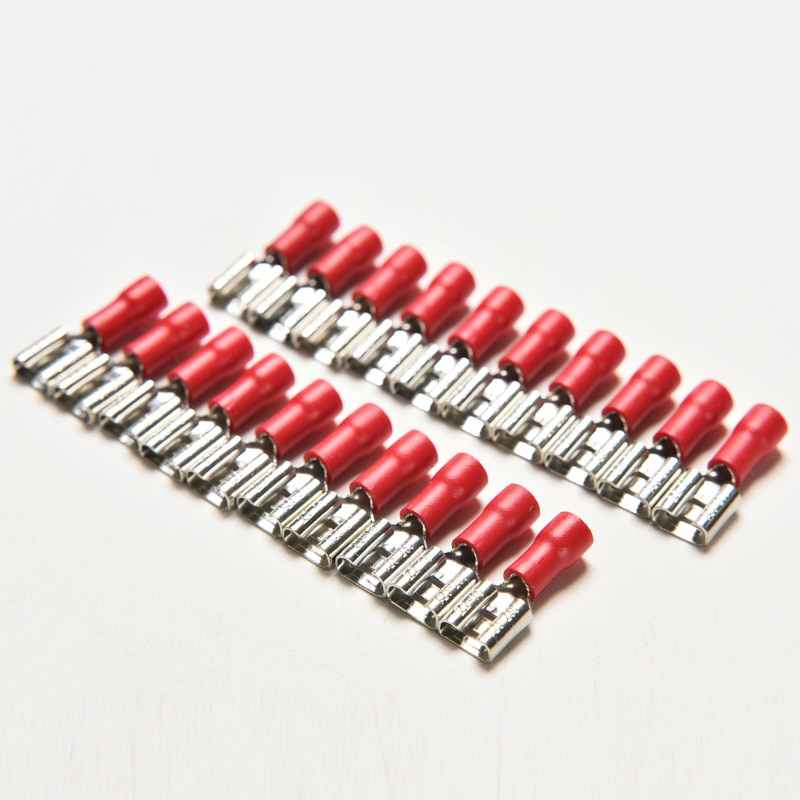 20PCS 16-22AWG Red Female Insulated Splice Wire Connectors Crimp Spade Terminal Electrical Crimp Terminals Wholesale