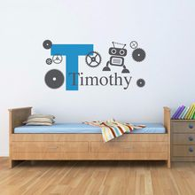 New Cute Personalized Boys Name Kids Room Vinyl Wall Decal with Initial Robot & Gears Boy Bedroom Wall Sticker Home Art Decor(China)