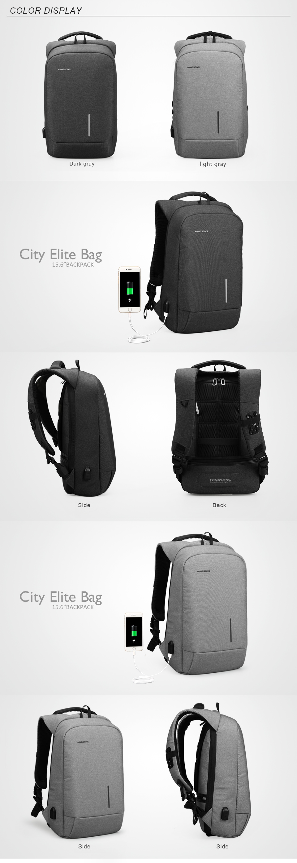 Kingsons 2017 New Arrival Nylon Backpack Laptop 13.3 15.6 Waterproof Computer Bag USB Functional Backpack For School Mochila