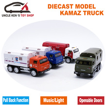 Russian KAMAZ Military Model Diecast Monster Truck, Alloy Metal Cars For Boys Kids As Gift With Pull Back Function/Music/Light(China)