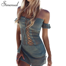 Simenual Handmade crochet knitted dress beach lace up hollow out off shoulder summer dresses women swimwear sexy hot party dress