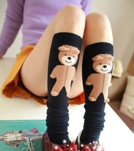 Princess sweet lolita stocking Knee-high boots shorts with 3D three-dimensional doll teddy bear winter warm type Original design
