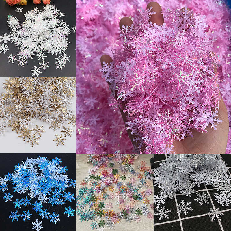 300pcs/lot Christmas Snowflakes Appliques Wedding Party Decoration Craft DIY Handmade Gift Supplies Ornaments Home Garden Decor