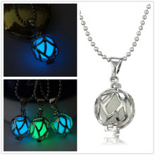 HOMOD Vintage Steampunk Magic Round Fairy Locket Glow In The Dark Pendant Necklace Luminous Jewelry Woman Elegant Gift Berloque