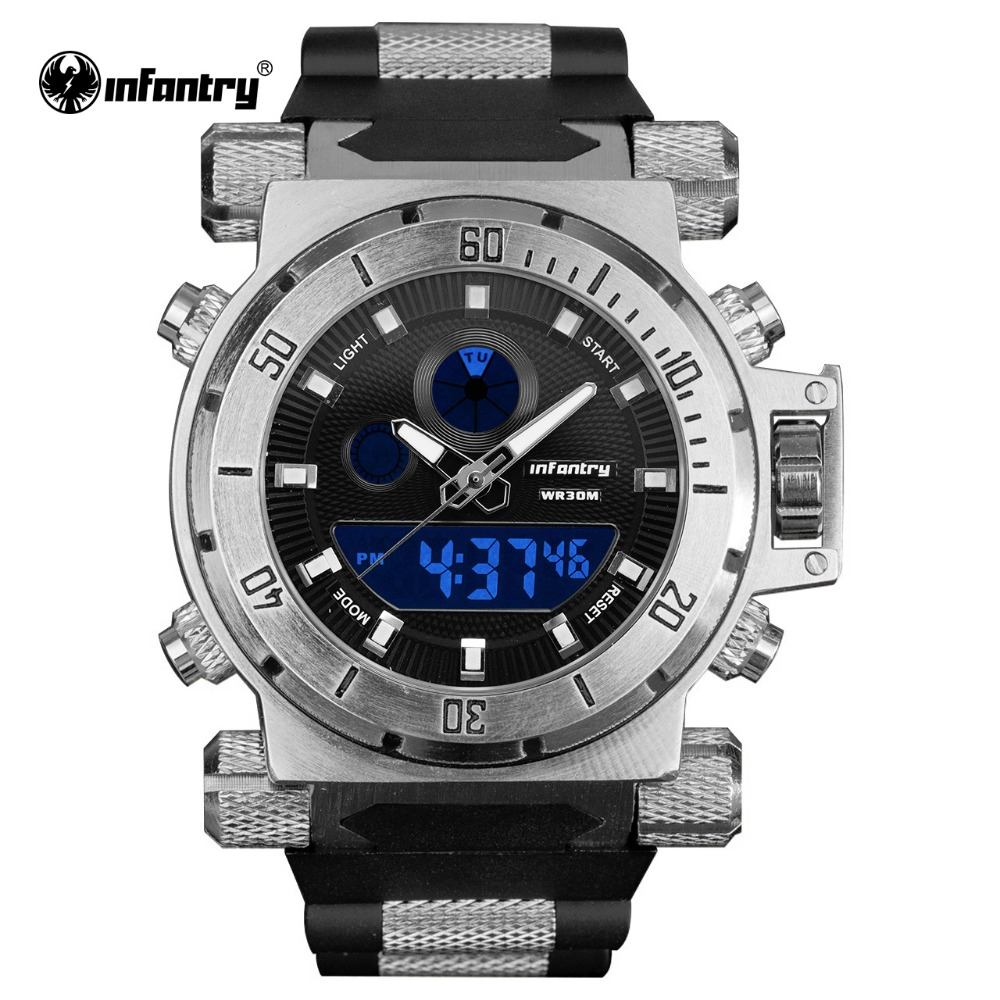Men Watches Top Luxury INFANTRY Business Casual Big Dial Analog Digital Watch Military Silicone Waterproof Relojes Hombre 2018<br>