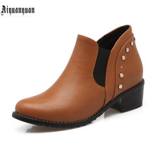 European Size to 43 44 45 46 47 48 49 50 Fashion High quality PU Round Toe design Boots Slip-On design Hoof Heels women shoes