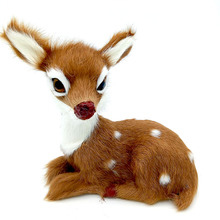 Artificial Animal Model About 14x14cm Sika Deer Toy Fur& Polyethylene Deer Toy  Furnishing Gift