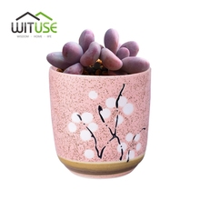WITUSE Cup shape Flower Pots Pink/ Blue/Green Ceramic Garden Pot Mini Indoor Plants Plum Blossom Pattern Decorative FlowerPots(China)