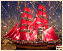 5d diy diamond painting round full cube diamond embroidery red ship scenery pattern hobbies and diamond mosaic Christmas gift(China)