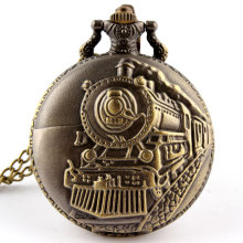 Hot Bronze Train Front Locomotive Engine Necklace Pendant Vintage Craving Back Quartz Pocket Watch P107