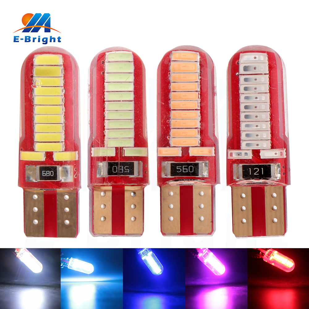 4pcs/lot 4014 24SMD SILICA T10 Led Bulbs 12V DC Indicator Light Cars Turn Signal Light Instrument Lights White Ice Blue Red Pink<br><br>Aliexpress