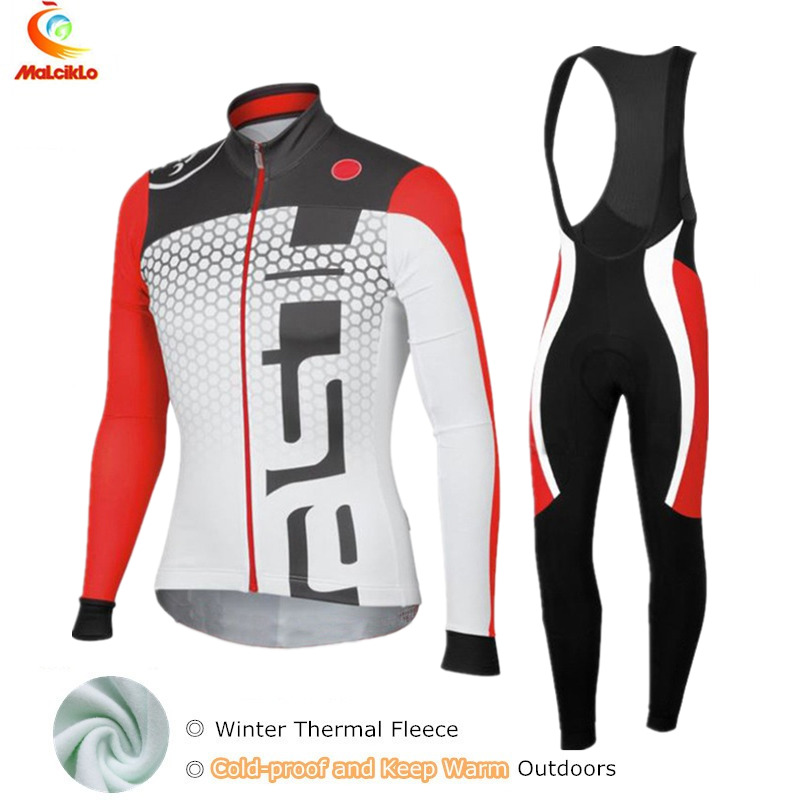 Red &amp; White Winter Thermal Fleece Mens Cycling Jersey Set/Mountain Bike Bicycle Uniform/Long Sleeve Cycling Clothing<br>