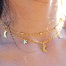 TOMTOSH 2017 New Fashion Layered Gold Choker Necklace Moon Stars Gold Necklace lasso Necklace Gift