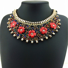 New Arrival Bohemia Latest Design Statement Necklace Braidded Leather Cord Women Fashion Necklace Unique Flower Design Pendants(China)