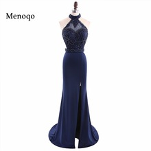 Modest Prom Dresses Mermaid 2017 Real Images Halter Robe De Soiree Formal Party Dress Celebrity Evening Gowns Fast Shipping