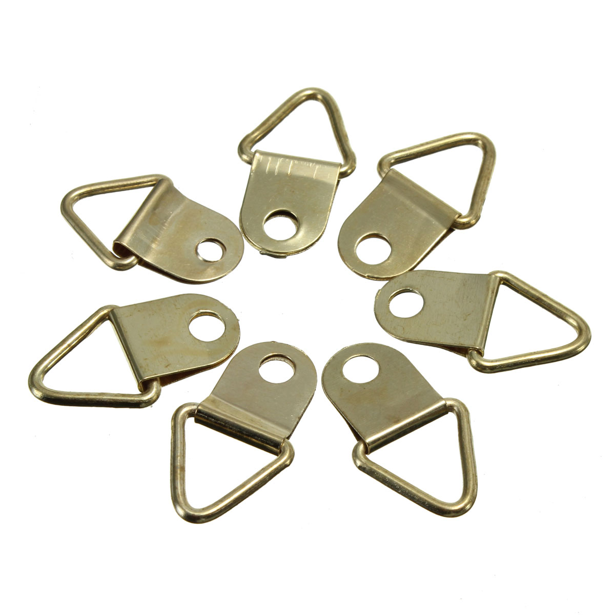 MTGATHER Universal Strong Golden 50pcs D Rings Decor Picture Frames Hanger Hooks Hanging Triangle Screws Helper(China)