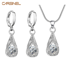 Buy CARSINEL Women Bridal Jewelry Set Silver color Fashion Necklace Drop Earring Cubic Zircon Wedding Jewelry Sets women for $1.38 in AliExpress store
