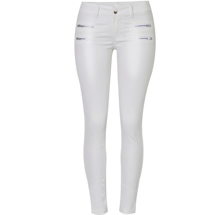 Europe and the United States women's low waist stretch pants feet double zipper PU white coating imitation leather pants large size (6)_