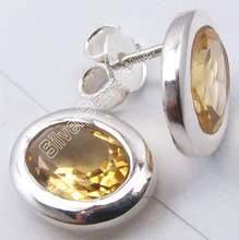 Silver Facetted YELLOW Citrines Oval LADIES' Studs Earrings 1.1 CM