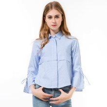 Dioufond Autumn Women Blouses Striped Tops Ladies Elegant Bow Fashion Sleeve Shirts Collar Stripe Clothes Chemise Spring 2018